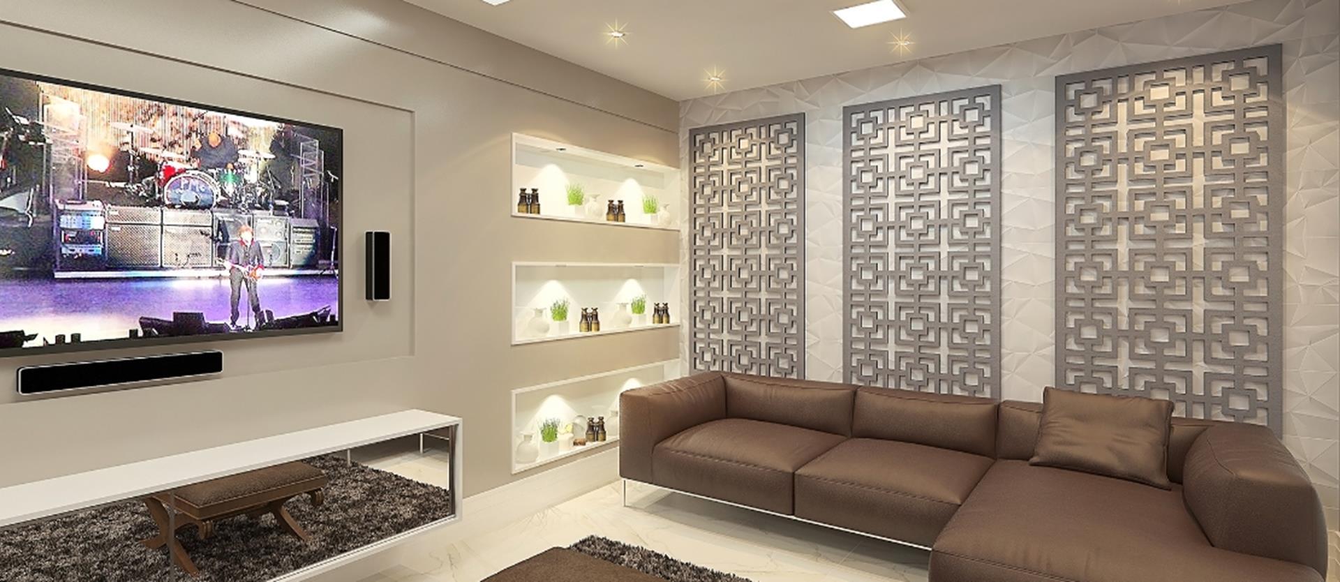 Ambiente decorado com um trio de painéis Export Laser.